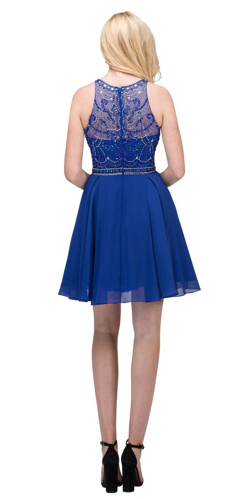 Royal Blue Halter Embellished Homecoming Short Dress