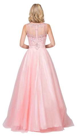 Blush Illusion Scoop Neck Beaded Long Prom Dress