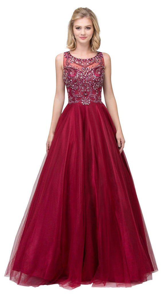 Burgundy Illusion Scoop Neck Beaded Long Prom Dress