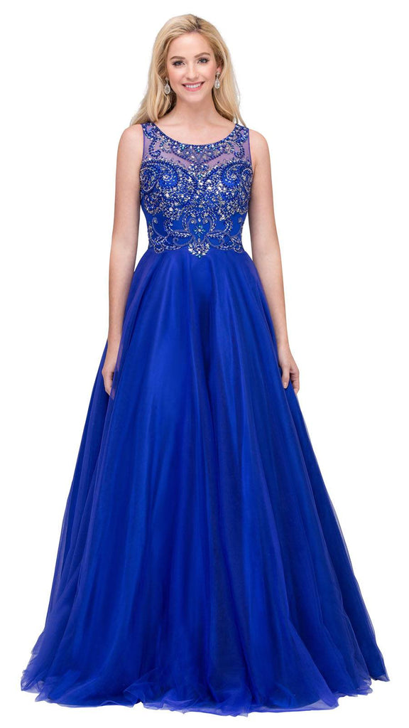 Royal Blue Illusion Scoop Neck Beaded Long Prom Dress