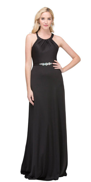 Black Halter Long Formal Dress with Cut-Out Back