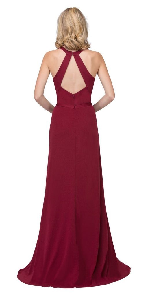 Burgundy Halter Long Formal Dress with Cut-Out Back