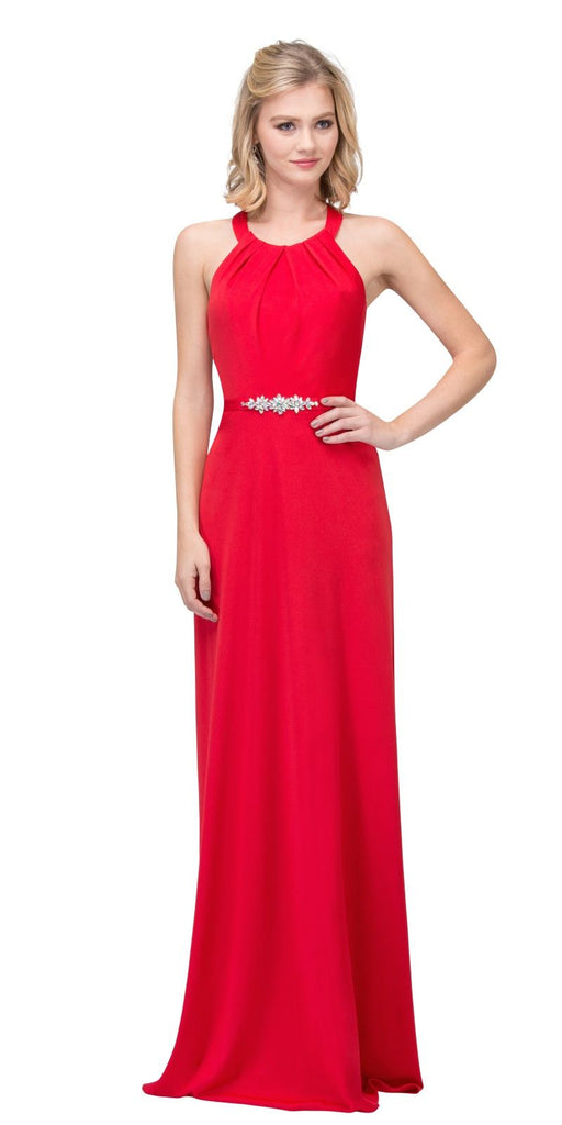 Red Halter Long Formal Dress with Cut-Out Back