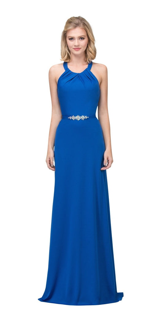 Royal Blue Halter Long Formal Dress with Cut-Out Back
