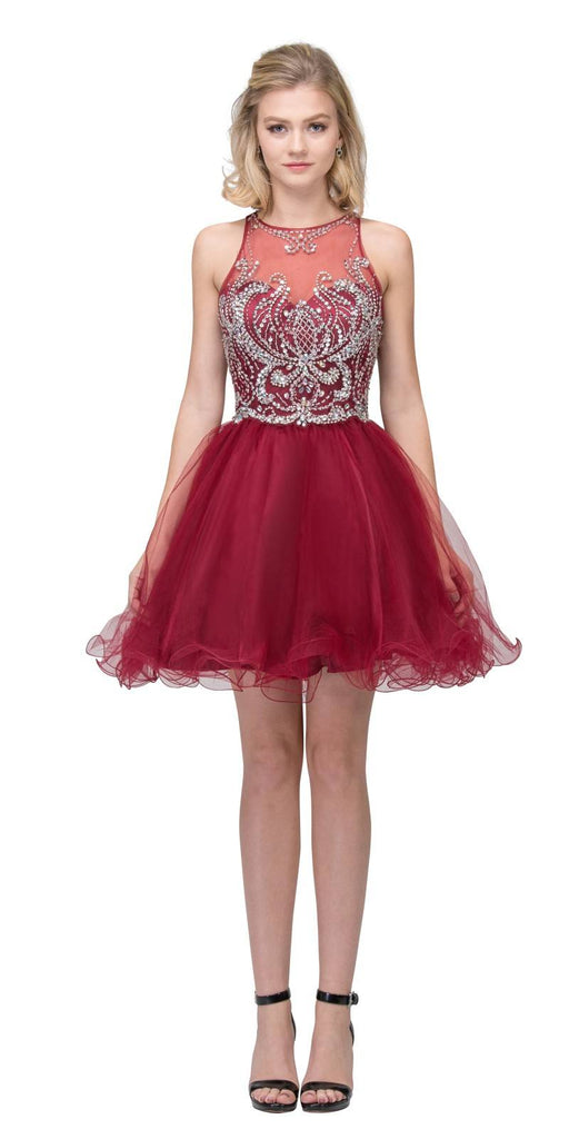 Bead Embellished Short Prom Dress Cut-Out Back Burgundy