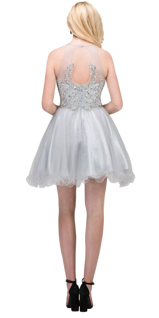 Bead Embellished Short Prom Dress Cut-Out Back Silver