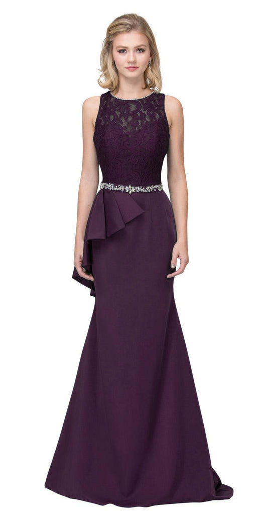 Eggplant Long Formal Dress Embellished Waist with Ruffles