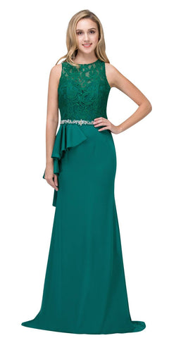 Hunter Green Long Formal Dress Embellished Waist with Ruffles
