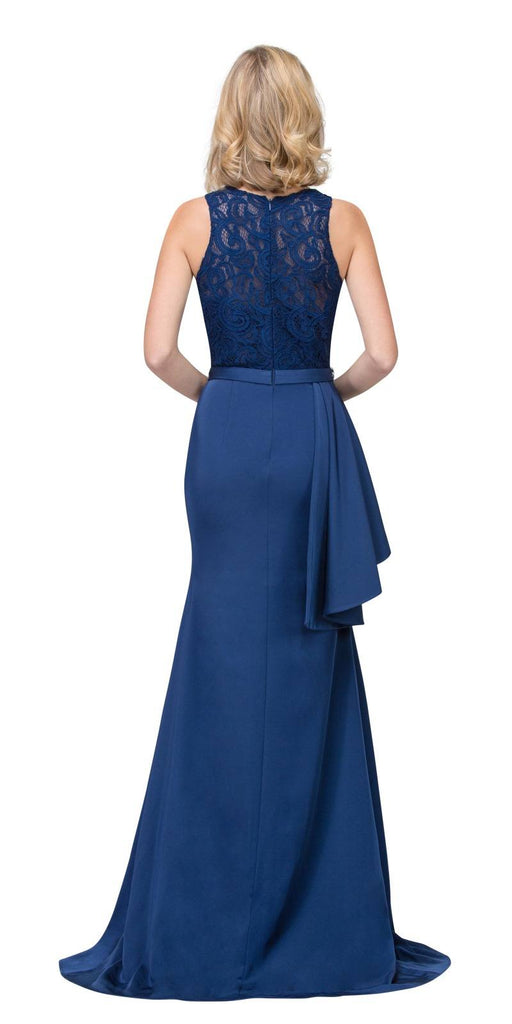 Navy Blue Long Formal Dress Embellished Waist with Ruffles