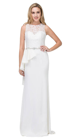 Off White Long Formal Dress Embellished Waist with Ruffles
