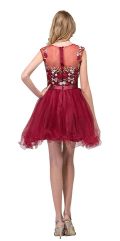 Embroidered Bodice Homecoming Short Dress Cap Sleeved Burgundy