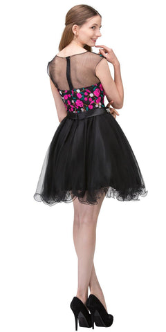 Illusion Embroidered Short Prom Dress Black