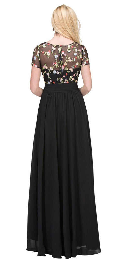Black Short Sleeved Long Formal Dress Embroidered