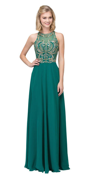 Hunter Green Cut-Out Back Beaded Long Prom Dress A-line
