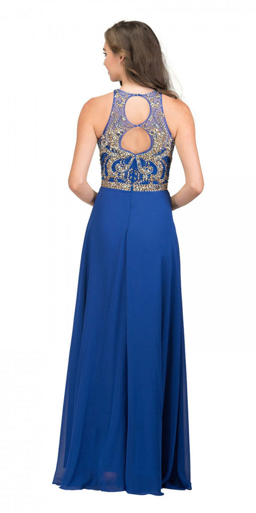Starbox USA 17272 Royal Blue Cut-Out Back Beaded Long Prom Dress A-line Back View