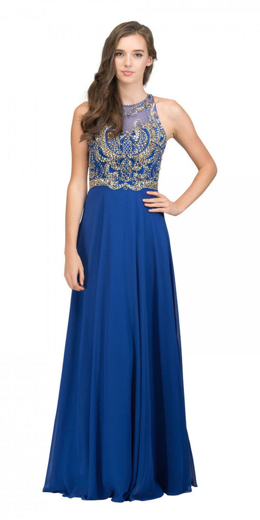Starbox USA 17272 Royal Blue Cut-Out Back Beaded Long Prom Dress A-line