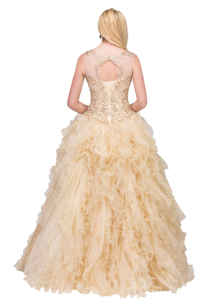 Starbox USA 17273 Chamapgne Ruffle Ball Gown A Line Embroidered Illusion Neckline Back View