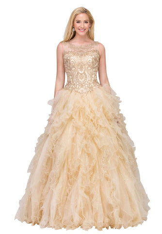 Starbox USA 17273 Chamapgne Ruffle Ball Gown A Line Embroidered Illusion Neckline
