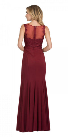 Starbox USA 17277 Burgundy Embellished Waist Long Formal Dress with Slit Back View