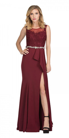 Starbox USA 17277 Burgundy Embellished Waist Long Formal Dress with Slit