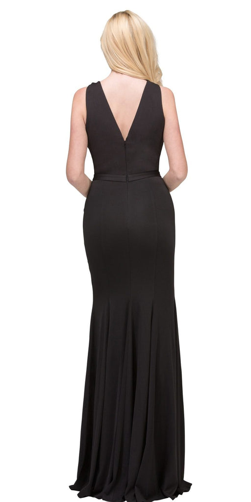 Black Cut-Out Neckline Mermaid Long Prom Dress with Slit