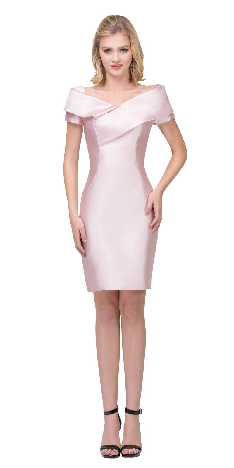 Blush Wedding Guest Formal Dress With Short Sleeves