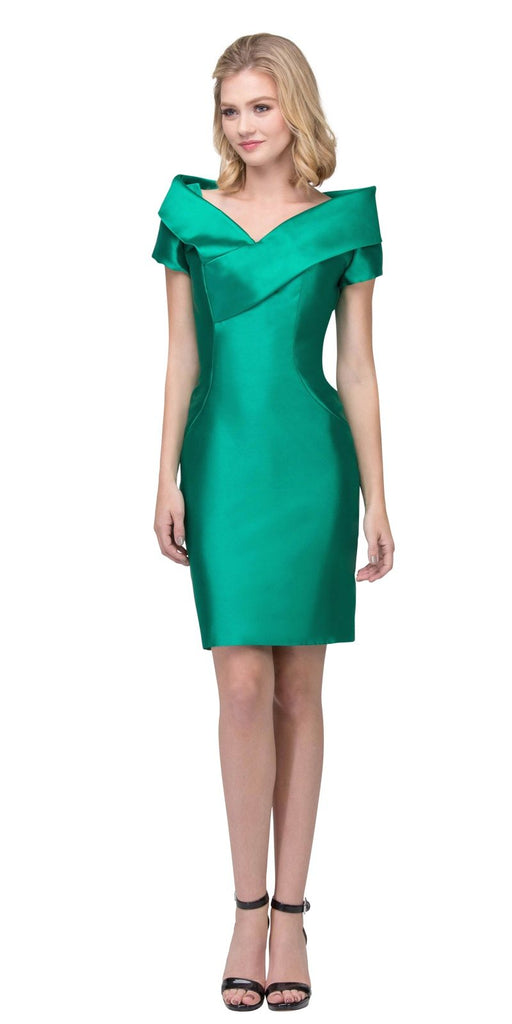 Green Wedding Guest Formal Dress with Short Sleeves