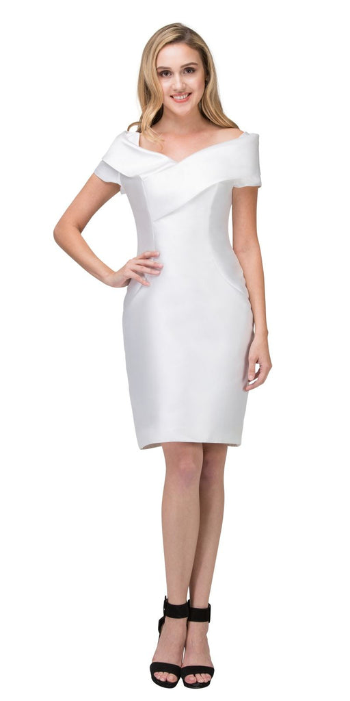 Off White Wedding Guest Formal Dress with Short Sleeves