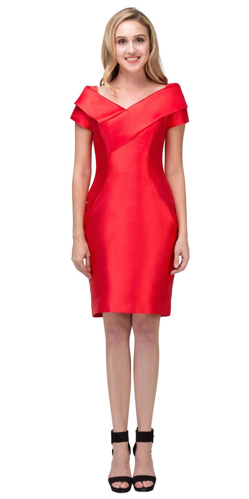 Red Wedding Guest Formal Dress with Short Sleeves