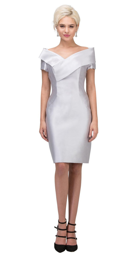 Silver Wedding Guest Formal Dress with Short Sleeves