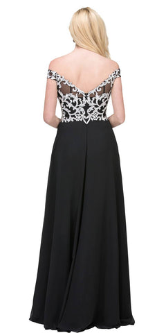 Appliqued Bodice Off-the-Shoulder Long Formal Dress Black