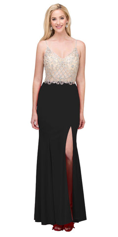 Long V-Neck Formal Dress Embellished Bodice in Black