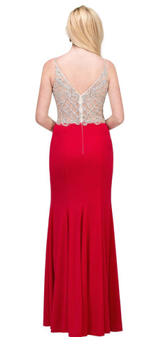 Long V-Neck Formal Dress Embellished Bodice in Red