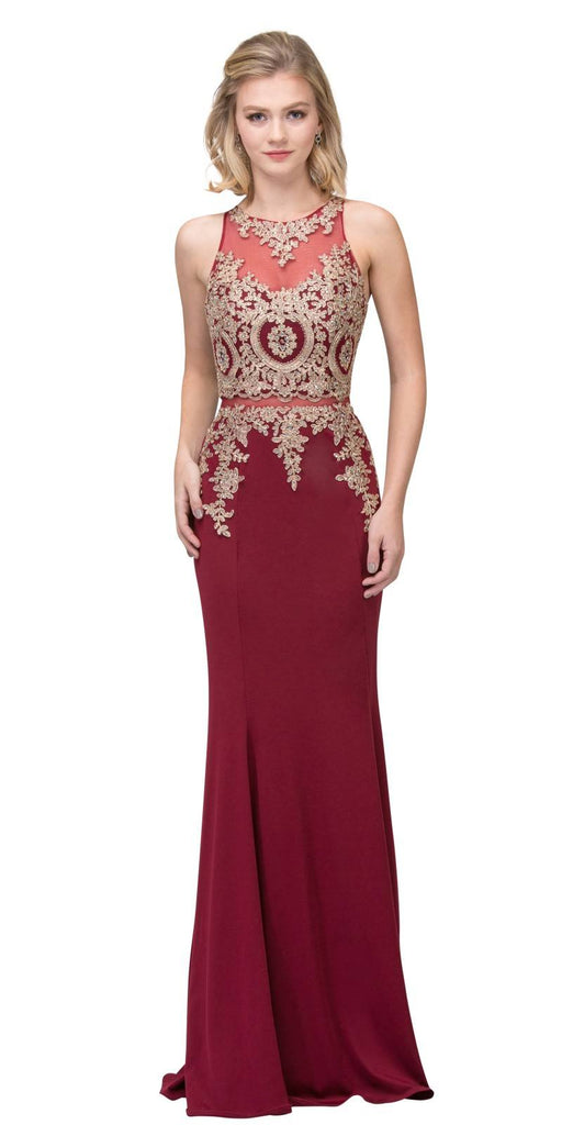 Appliqued Mermaid Long Prom Dress with Sheer Midriff Burgundy