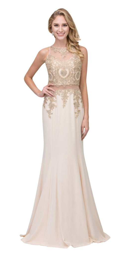 Appliqued Mermaid Long Prom Dress with Sheer Midriff Champagne