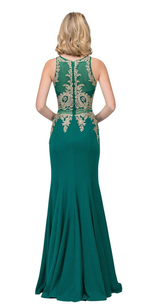 Appliqued Mermaid Long Prom Dress with Sheer Midriff Hunter Green