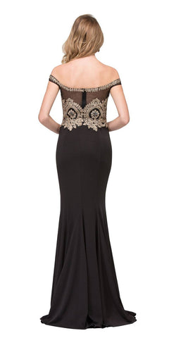 Black Off-Shoulder Appliqued Long Prom Dress