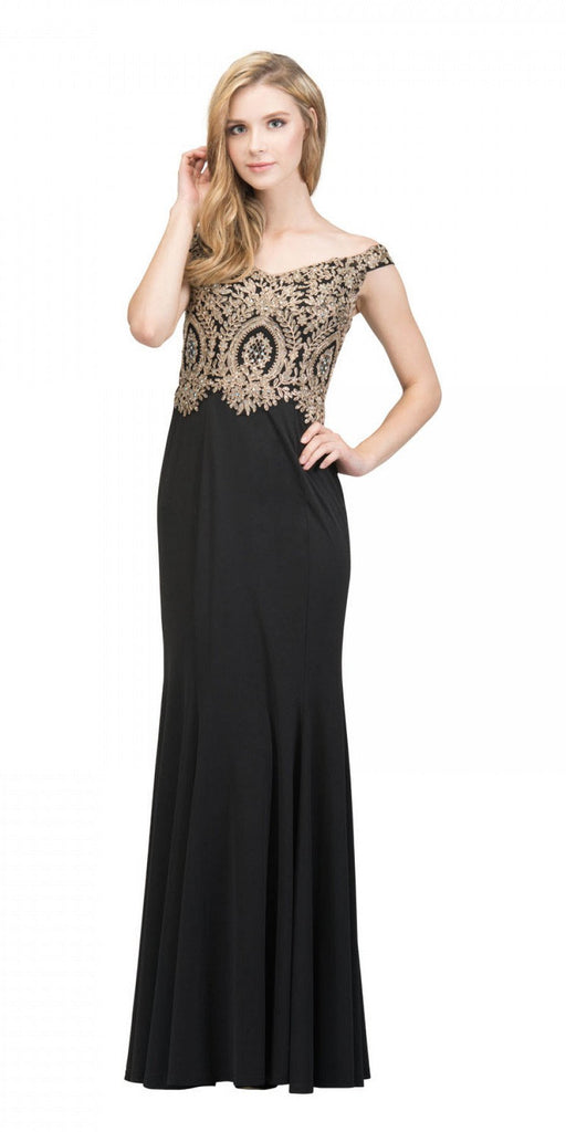 Starbox USA 17288 Black Off-Shoulder Appliqued Long Prom Dress