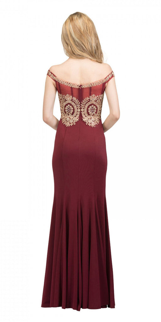 Starbox USA 17288 Burgundy Off-Shoulder Appliqued Long Prom Dress Back View