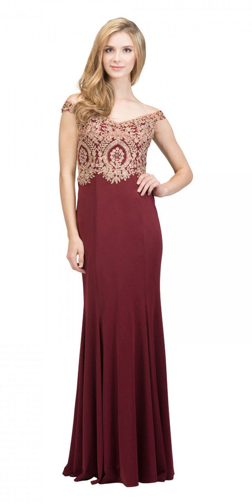 Starbox USA 17288 Burgundy Off-Shoulder Appliqued Long Prom Dress