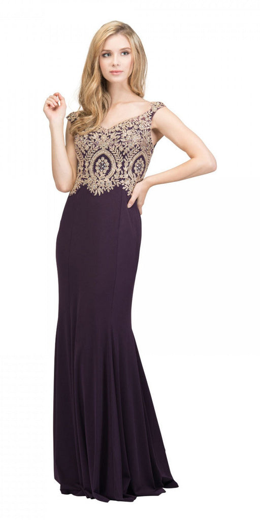 Starbox USA 17288 Eggplant Off-Shoulder Appliqued Long Prom Dress