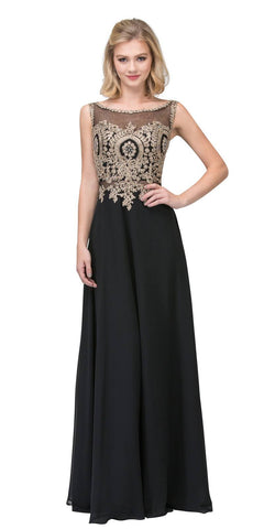 Black Appliqued Long Formal Dress with Bateau Neckline