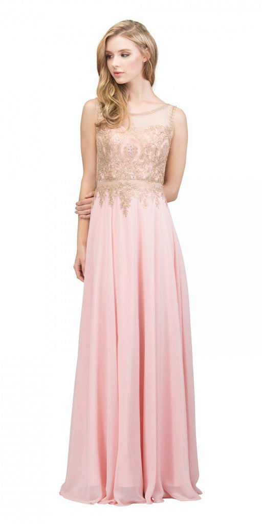 Starbox USA 17289 Blush Appliqued Long Formal Dress with Bateau Neckline