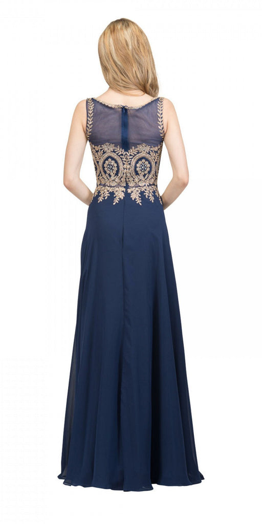Starbox USA 17289 Navy Blue Appliqued Long Formal Dress with Bateau Neckline Back View