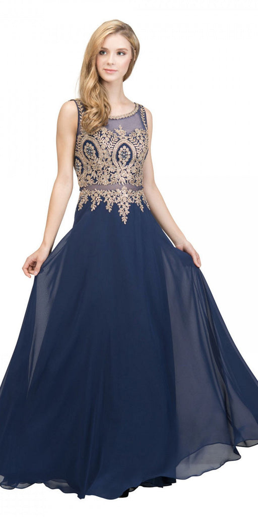 Starbox USA 17289 Navy Blue Appliqued Long Formal Dress with Bateau Neckline