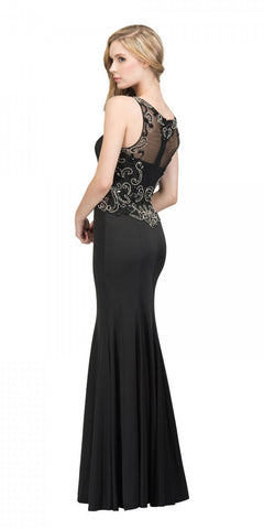Starbox USA 17291 Black Mermaid Long Prom Dress Beaded Back Sleeveless Back View