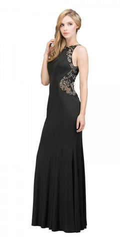 Starbox USA 17291 Black Mermaid Long Prom Dress Beaded Back Sleeveless