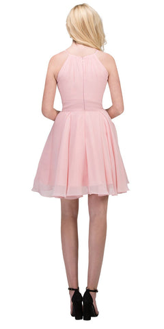 Blush A-line Short Homecoming Dress Keyhole Neckline