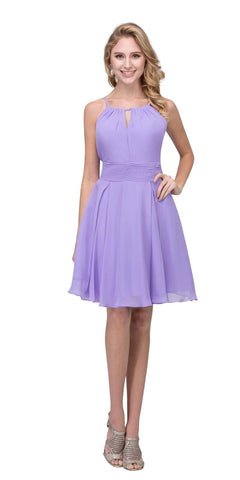 Lilac A-line Short Homecoming Dress Keyhole Neckline