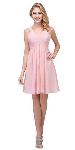 Short Empire Waist Cocktail Dress Lace-Up Back Blush